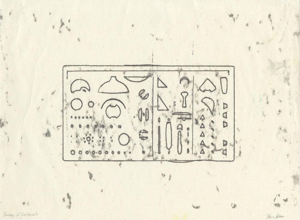 "Dana Potter Interval Converter - Tool Set 1 15"" x 11"" Trace mono-type from laser-cut stencils, 2018"