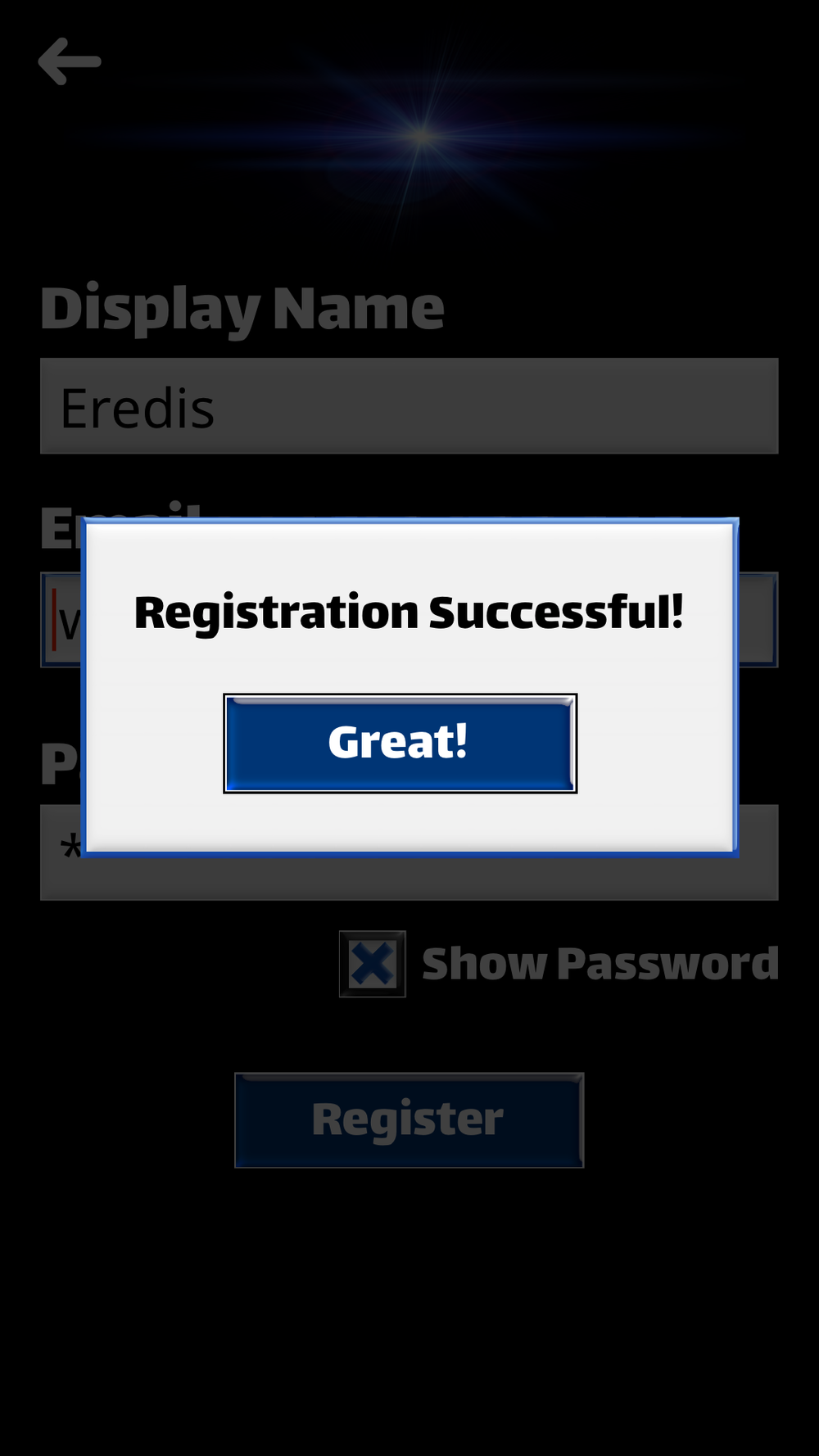 Registration success dialog