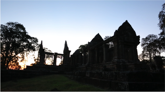 Sunrise at Preah Vihear Temple.Situation very near the area where the refugees were displaced.