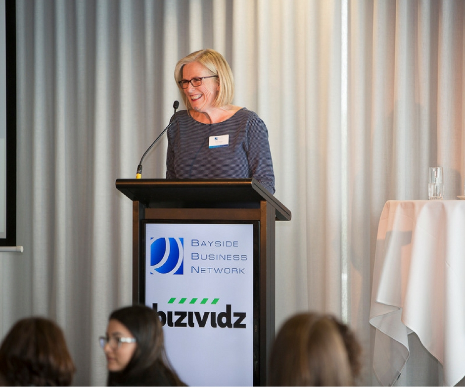 Kerryn in action as MC of the Bayside Business Womens Lunch in July 2016