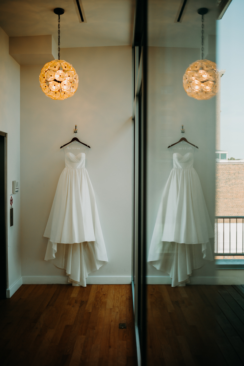 Elegant wedding dress, Glassbox, Downtown Raleigh Wedding