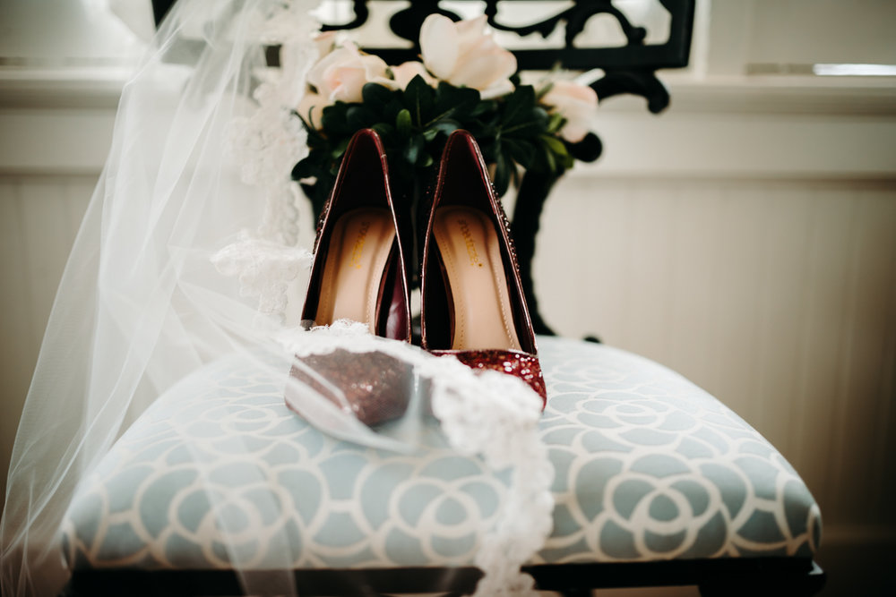 bridal details from intimate New Years eve wedding in downtown durham