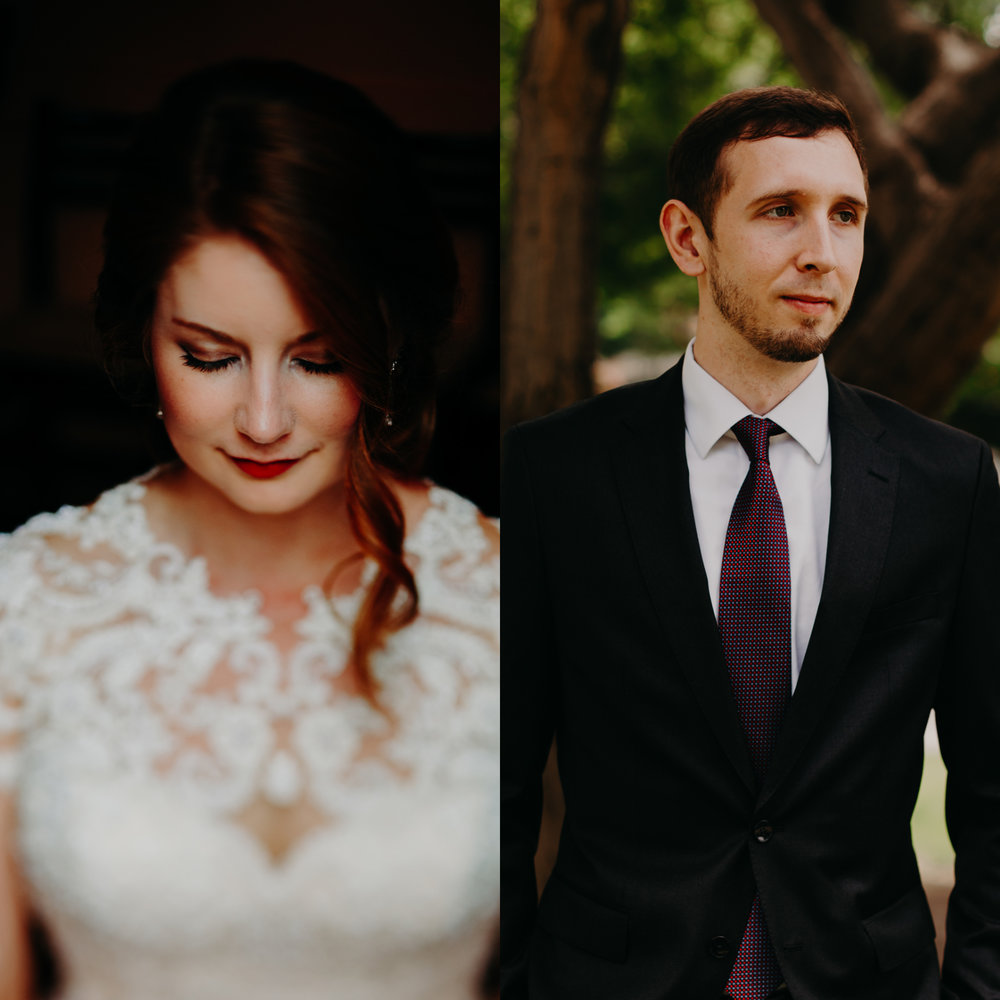 bride and groom portrait, downtown Raleigh wedding