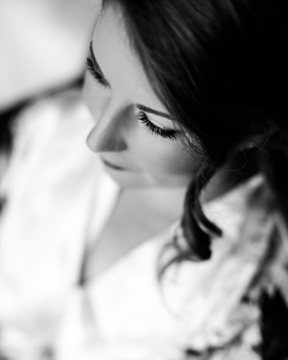 black and white bridal portrait, downtown Raleigh wedding