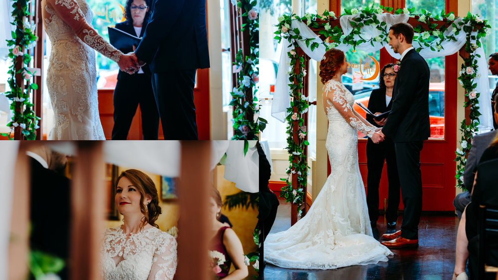 ceremony at Cafe Luna, downtown Raleigh wedding