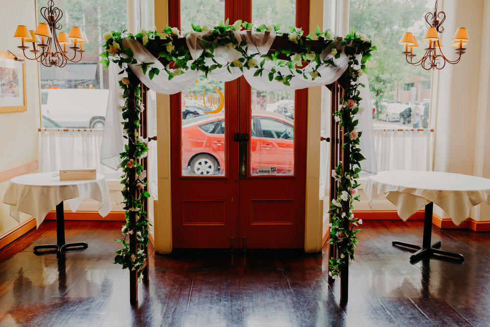 wedding alter at cafe luna downtown Raleigh wedding