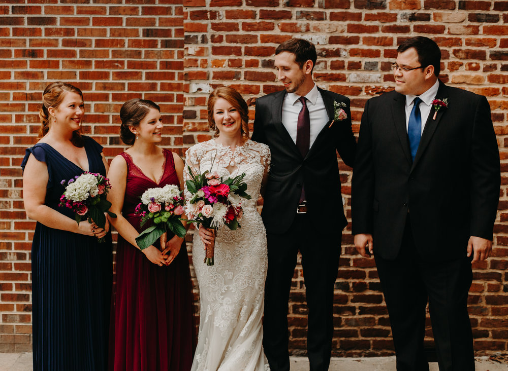 bridal party picture after ceremony downtown Raleigh wedding