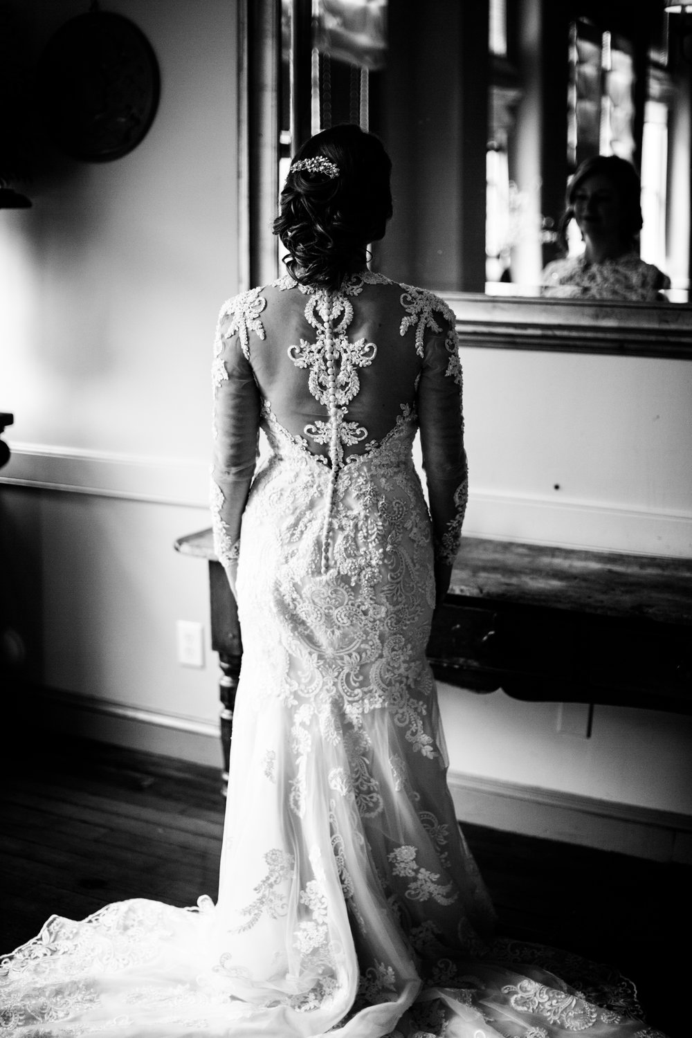 black and white bridal dress, downtown Raleigh wedding
