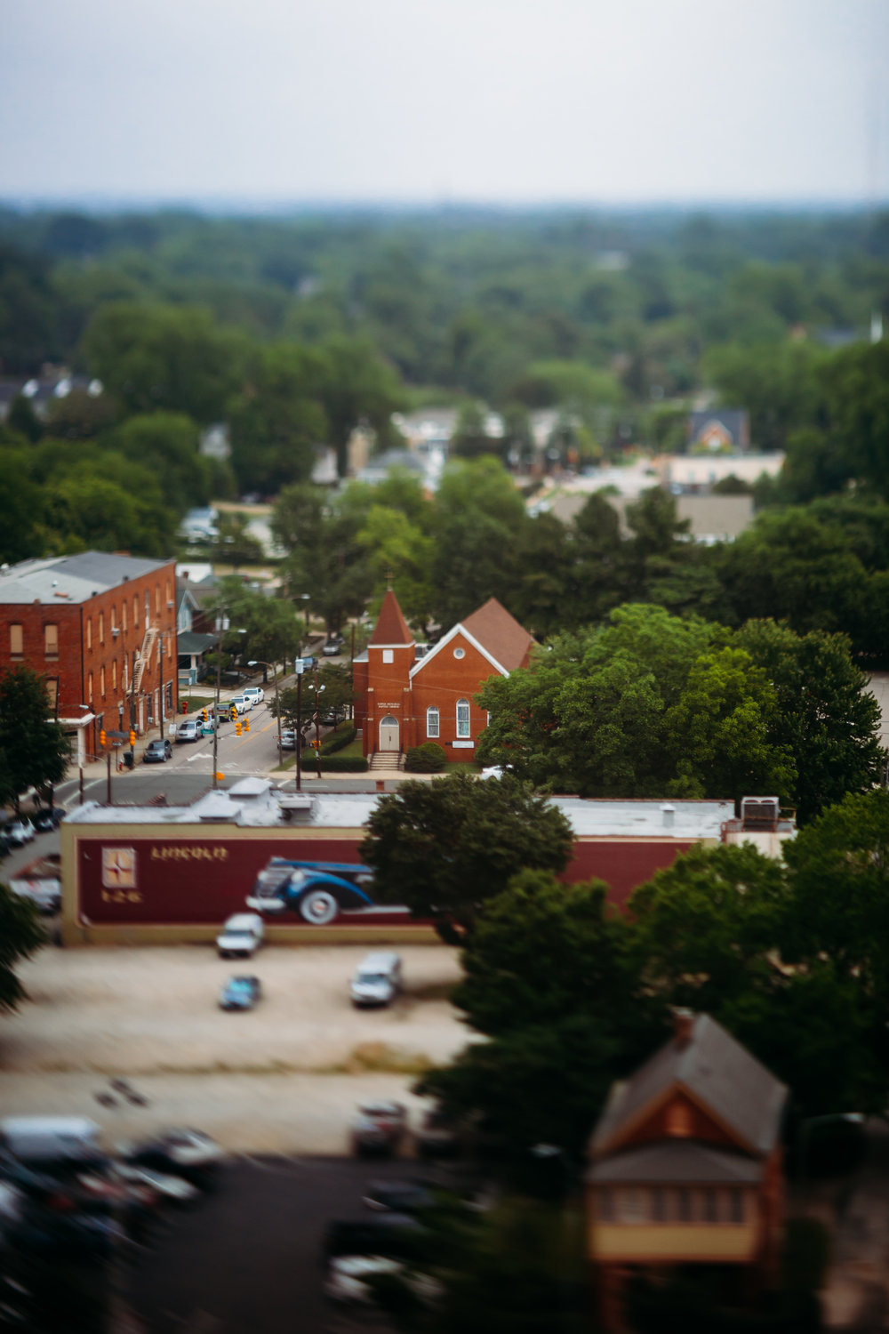 tilt shift image of downtown Raleigh
