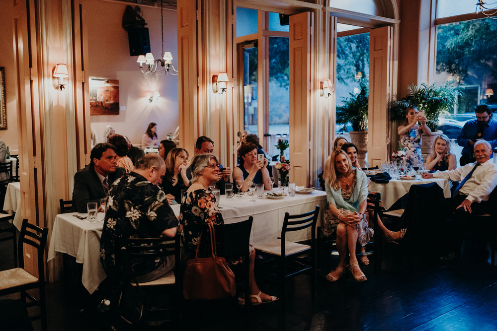 reception at Cafe Luna, downtown Raleigh wedding