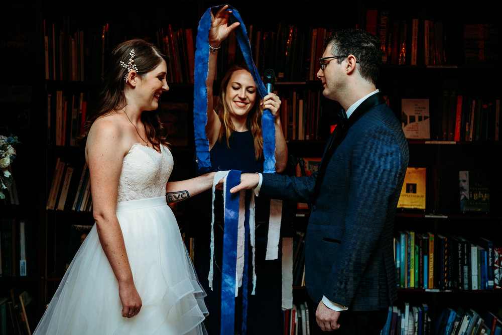 hand binding ceremony at Housing Works Bookstore Wedding