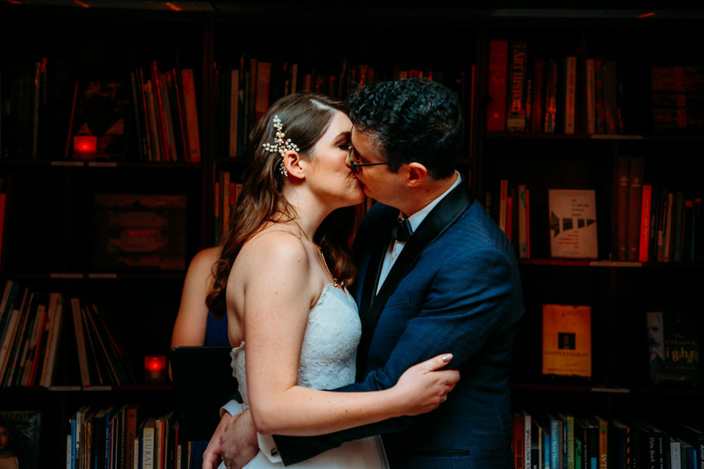 first kiss at Housing Works Bookstore Wedding