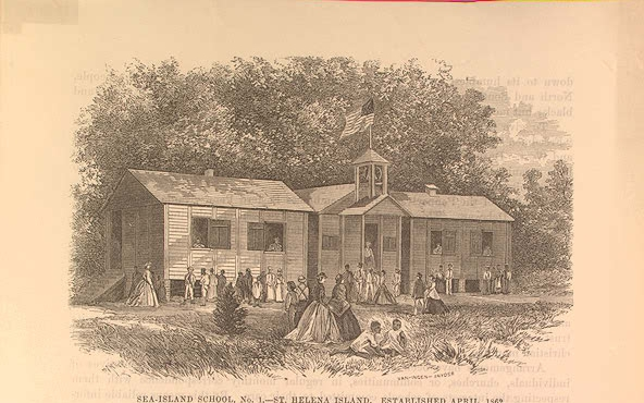 Freedmen School in the Sea Islands, South Carolina Est 1862. Image Courtesy of the Library of Congress