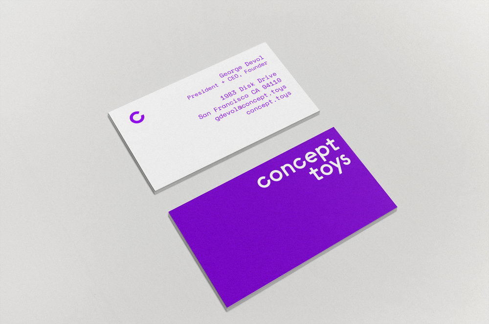 Business cards for Concept Toys.