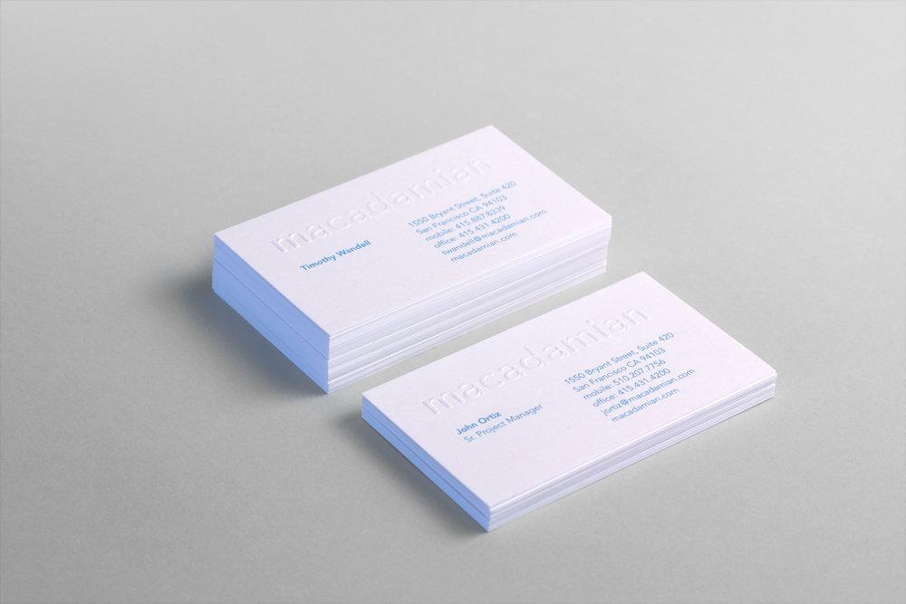 macadamian brand identity cards
