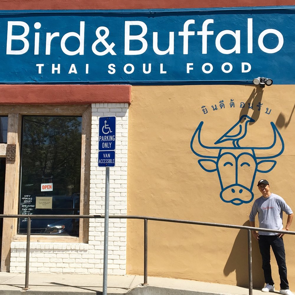 Bird & Buffalo, Thai Soul Food, Oakland. Our logo and Branding work supersized for side wall signage.