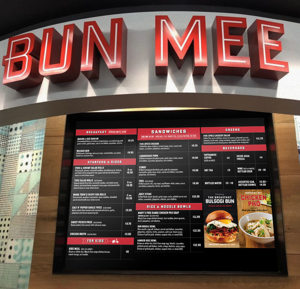 Bun Mee restaurant menu board and display ads