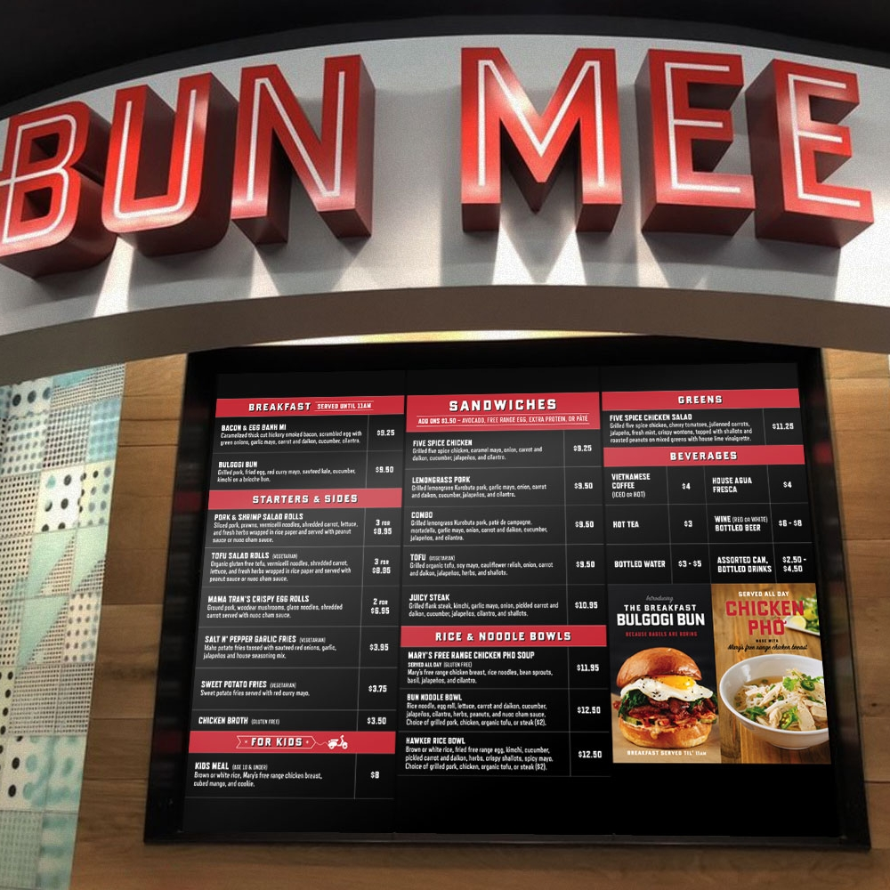 Bun Mee restaurant menu board design and display ads