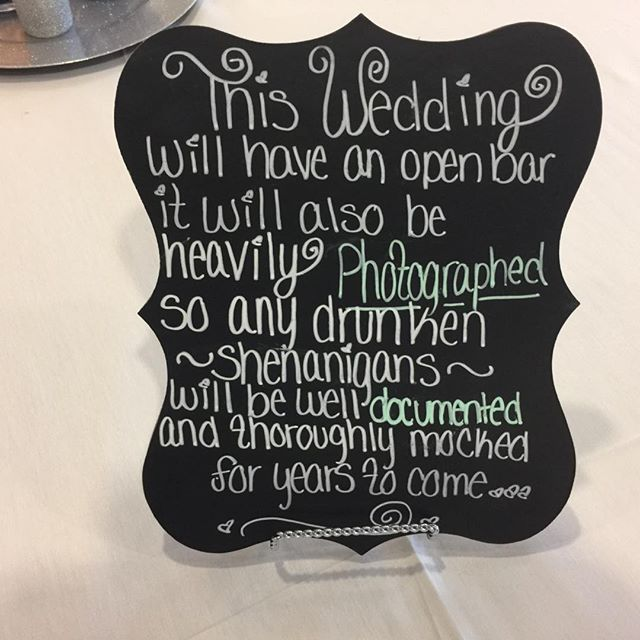 You know its going to be a fun wedding when this sign is out!  #buckeyesounds #buckeyesoundsweddings. #columbusweddingdj #hiltondowntowncolumbus