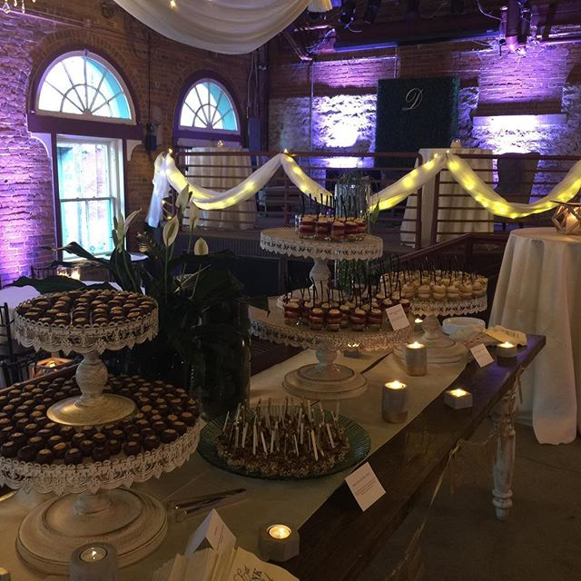 What looks better in this picture of a wedding #viavecchia?  Our decor lighting or the desert table?  #buckeyesounds #buckeyesoundsweddings #columbusweddingdj #viavecchiawedding #weddingdj #viavecchia
