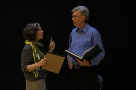 Jackson speaks with Gina Barnett during a rehearsal for his TED presentation.