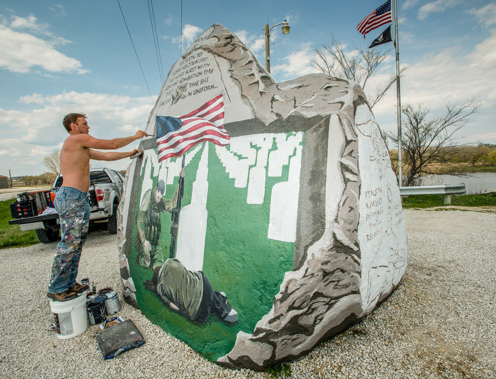 Sorenson works on the 2013 version of the Freedom Rock.