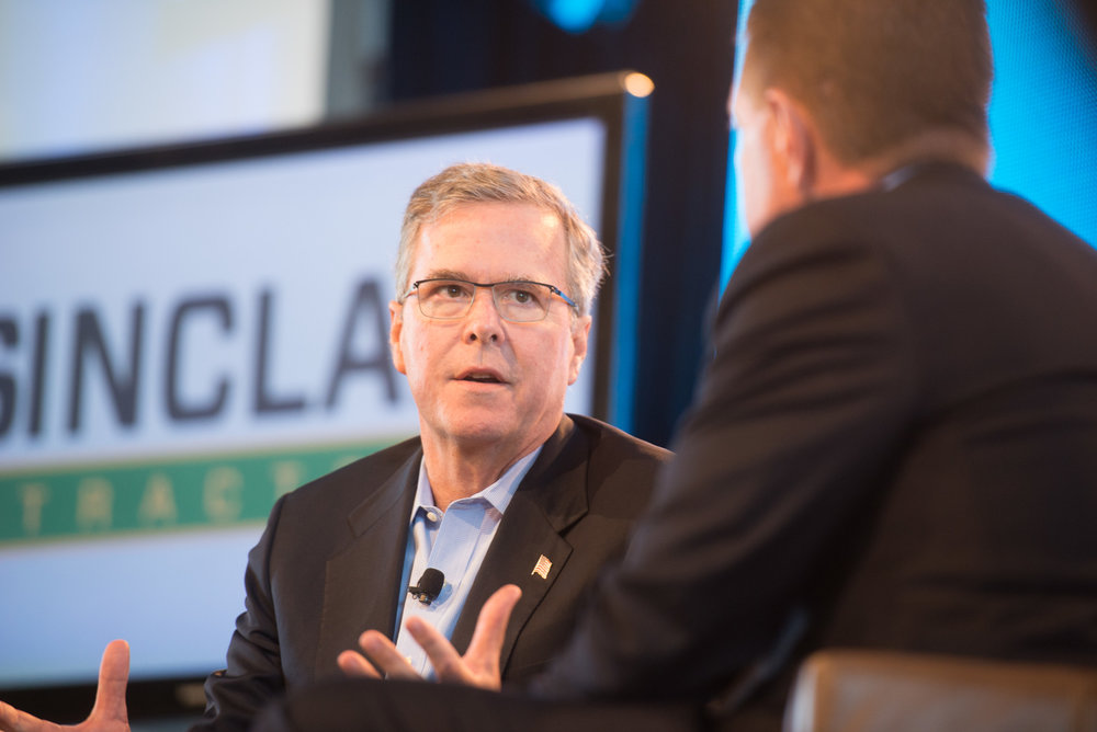 Former Florida Governor Jeb Bush talks with Bruce Rastetter during the 2015 Iowa Ag Summit. (Photo Joseph L. Murphy)