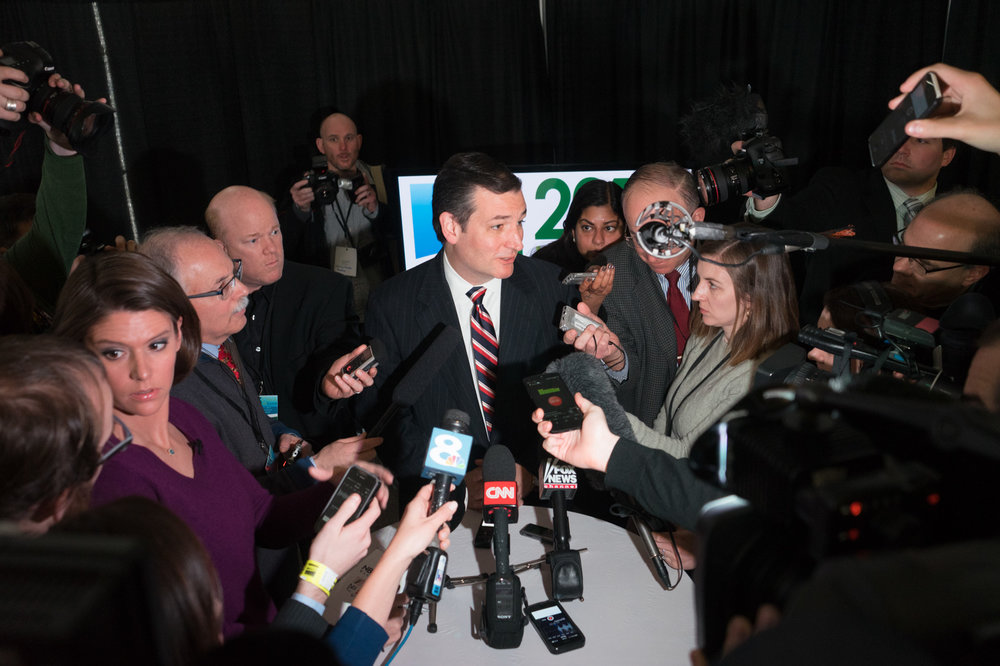 Senator Ted Cruz answers questions from a group of national journalists after his appearance at the Iowa Ag Summit. (Photo: Joseph L. Murphy)