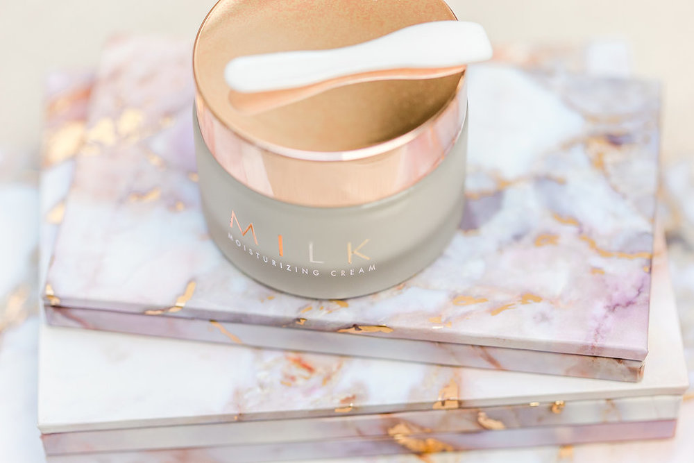 milk skincare, marble makeup palettes
