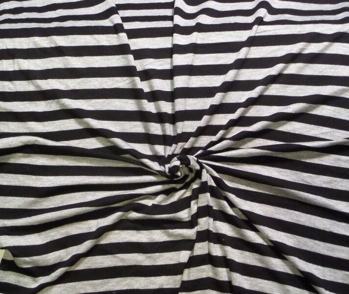 Black and grey striped rayon spandex. Great basic tee such as the  Union .