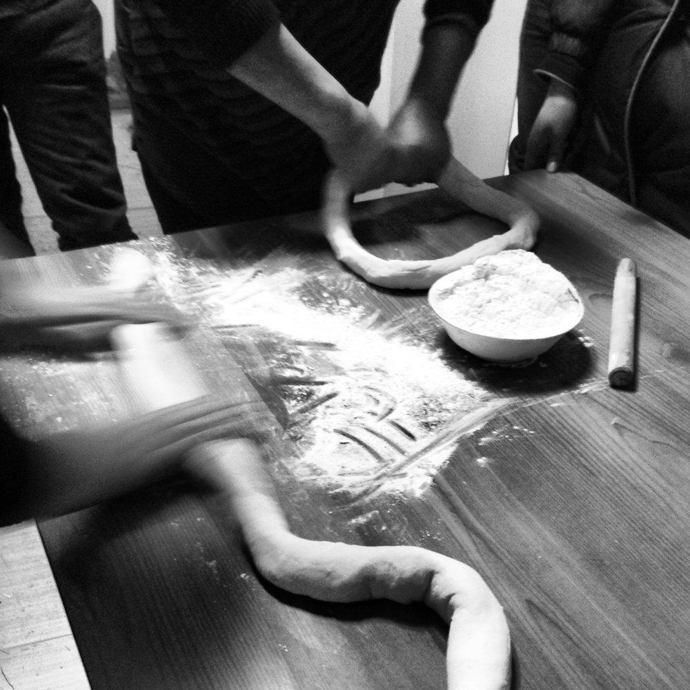 Preparing some dumpling skin