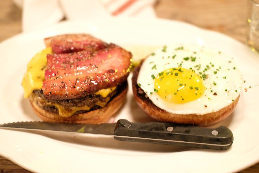 The single cheeseburger with bacon and fried egg @ Au Cheval