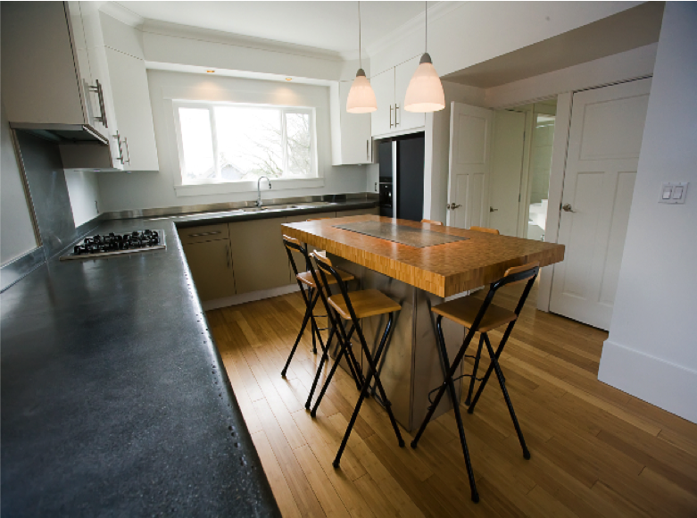 Full home renovation in Vancouver, Canada. We even poured the concrete countertop - what a labour of love that was.