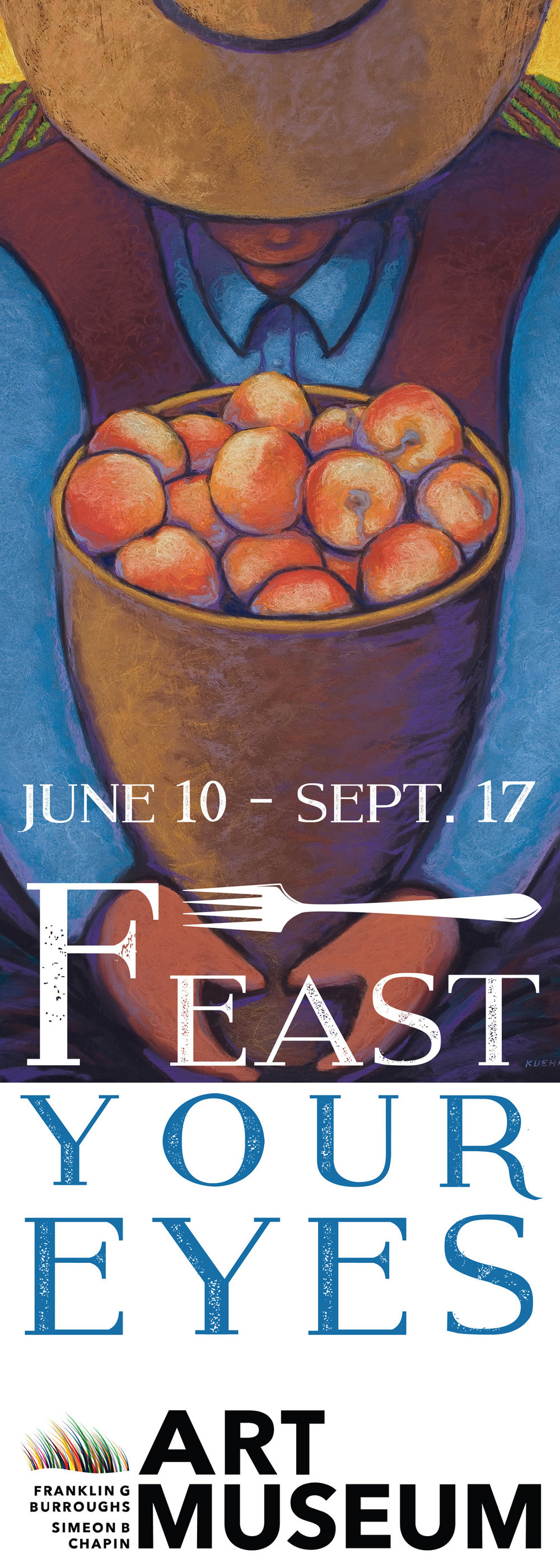 "Myrtle Beach Art Museum Summer 2017   I had 2 of my paintings selected to be a part of the ""Feast Your Eyes"" Exhibit, Celebrating the foods of the south through art. My Peach Harvest"" painting was also used for the banners to promote the show."