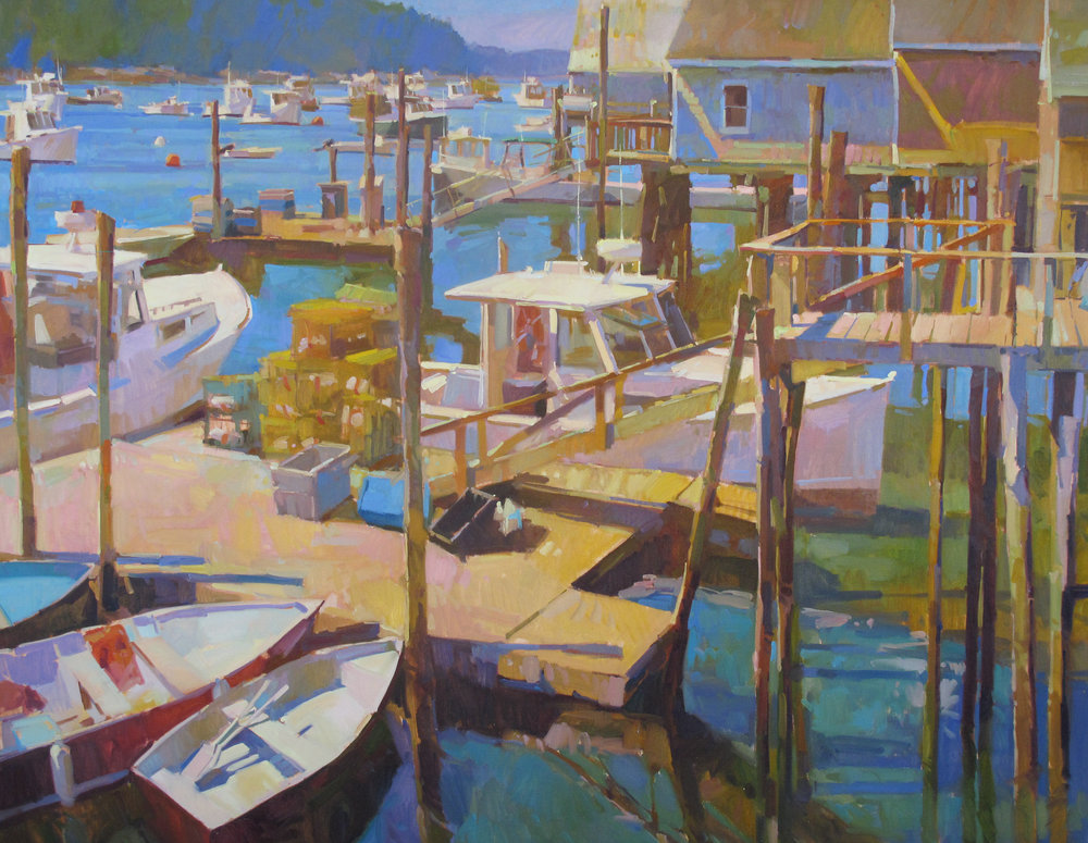 """Friendship Harbor  on display at Dowling Walsh Gallery, Rockland, ME  56x72"""" oil on canvas $20,500"""
