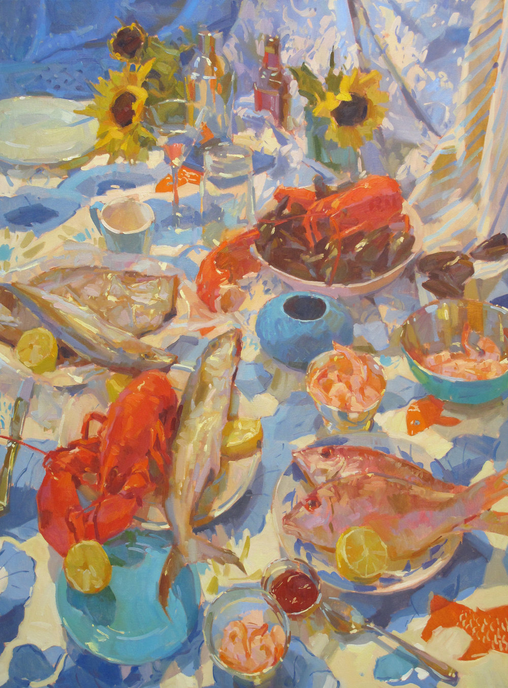 "Seafood Spread  48x36"" oil on canvas"