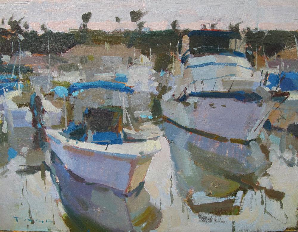 """Overcast Harbor  on display at Debra Huse Gallery, Balboa Island, CA  12x16"""" oil on panel $1500"""