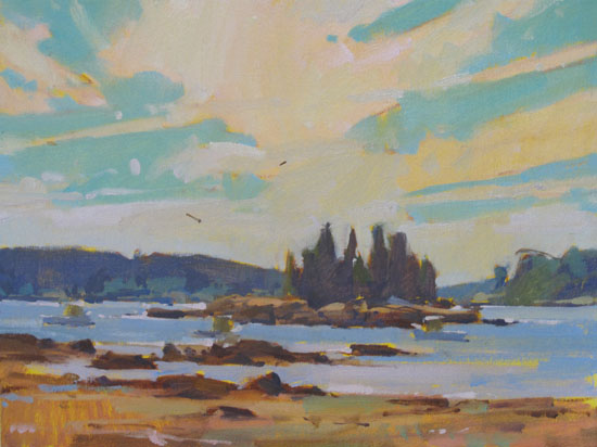 """Sea and Sky  on display at Greenhut Gallery, Portland, ME  12x16"""" oil on canvas $1500"""