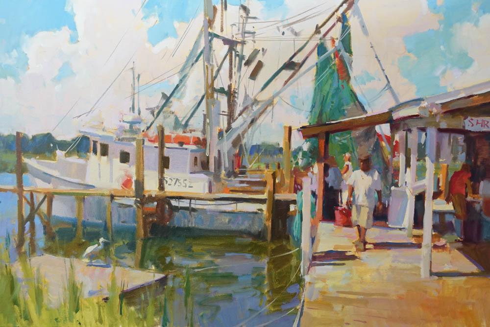 "Fish Market  on display at Anglin Smith Fine Art, Charleston, SC  24x36"" oil on canvas $6000"
