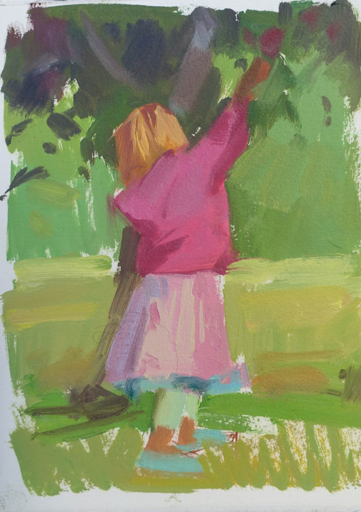 "Pearl Picking Apples  8x6"" oil on paper SOLD (unframed)"