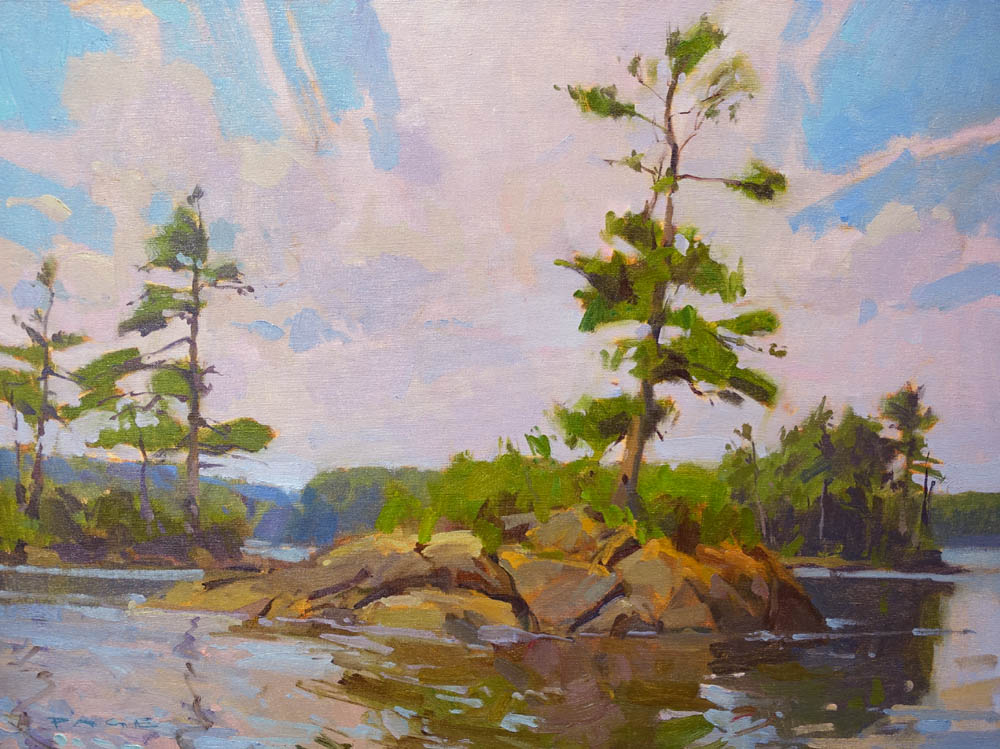 "Pine Island  on display at Greenhut Gallery, Portland, ME  18x24"" oil on canvas $2500"
