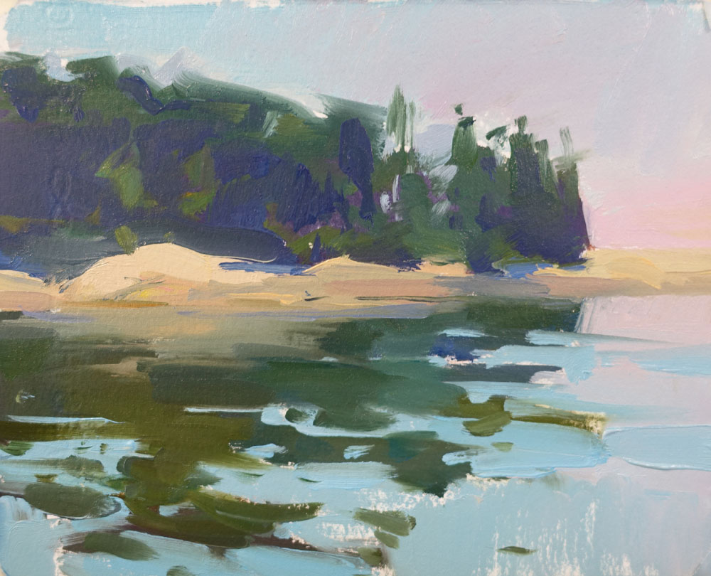 """Maine Island Reflections  6x8"""" oil on paper SOLD (unframed)"""