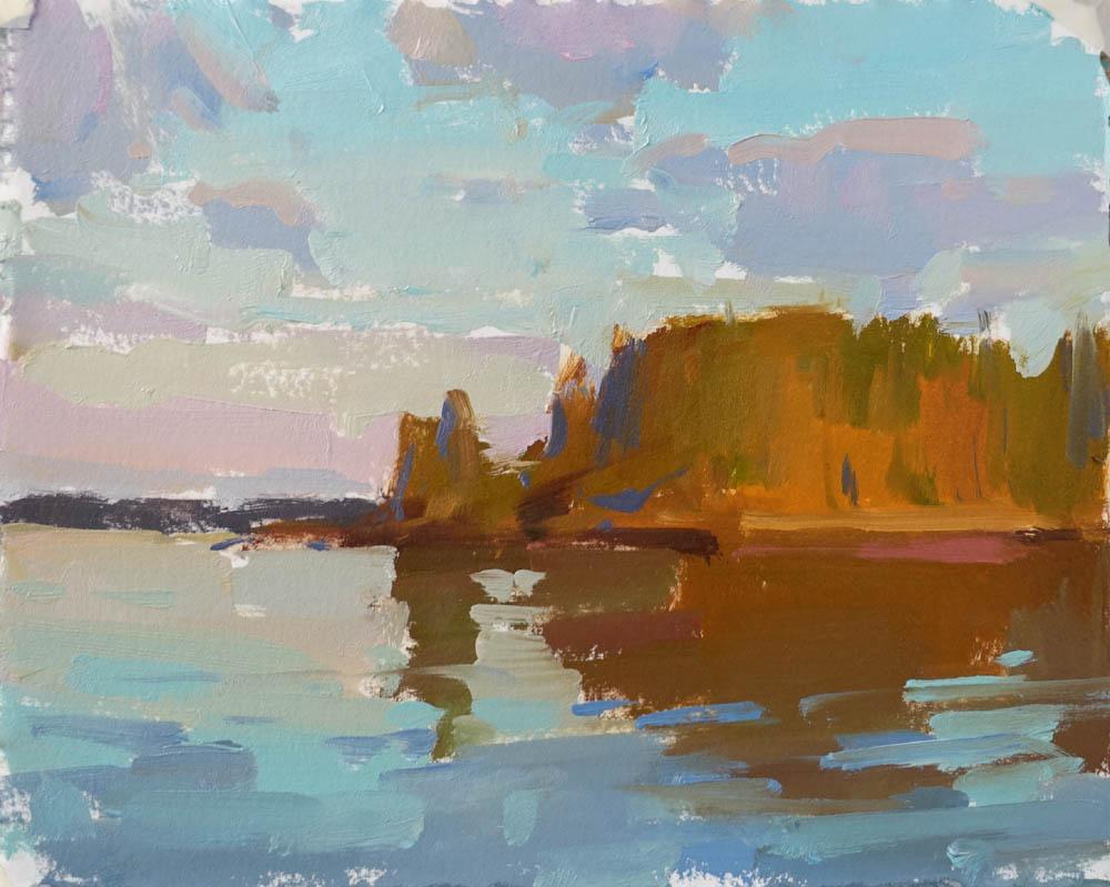 "Morning Island Sun  6x8"" oil on paper SOLD (unframed)"