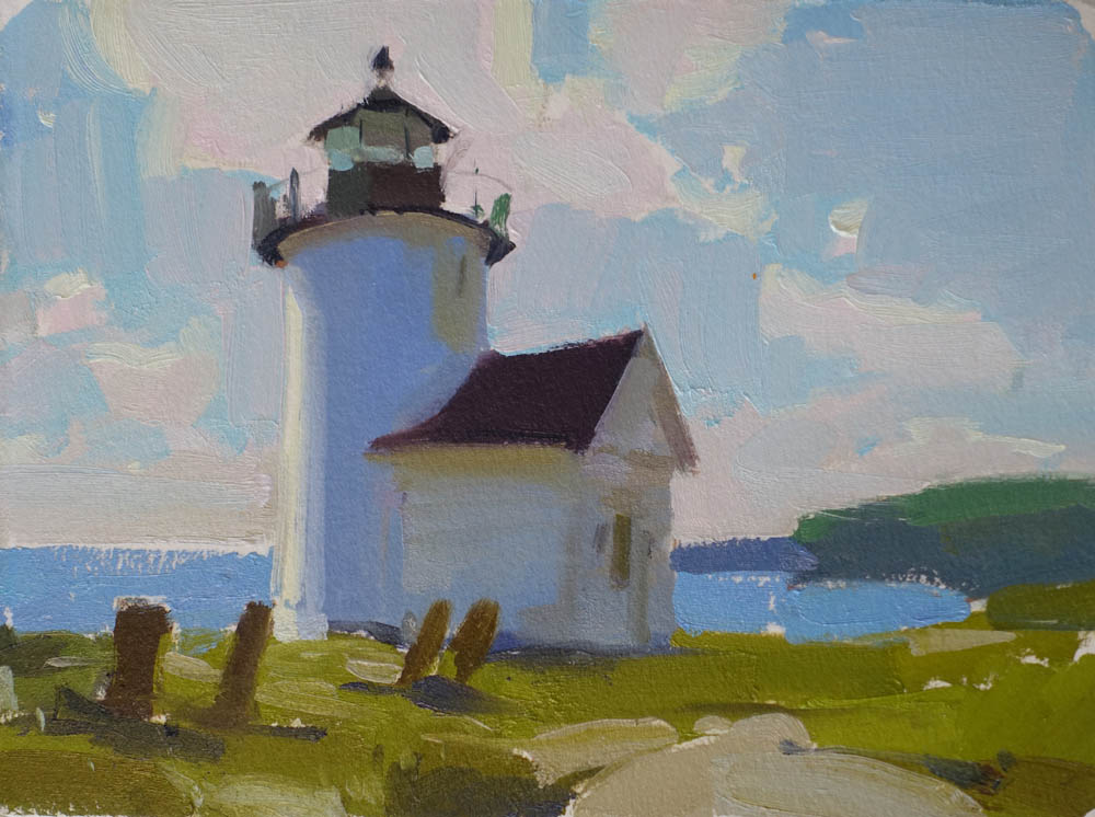 """Curtis Lighthouse  6x8"""" oil on paper. SOLD (unframed)"""