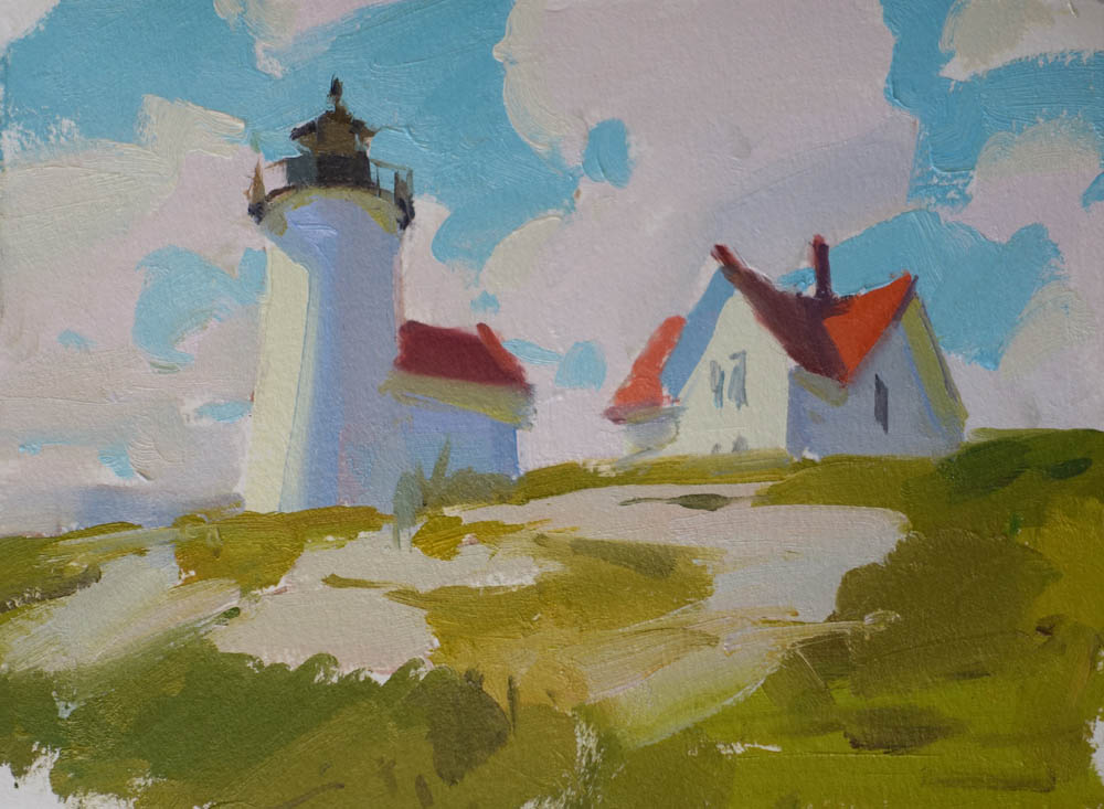 """Up to the Keeper's House  6x8"""" Oil on paper. SOLD (unframed)"""