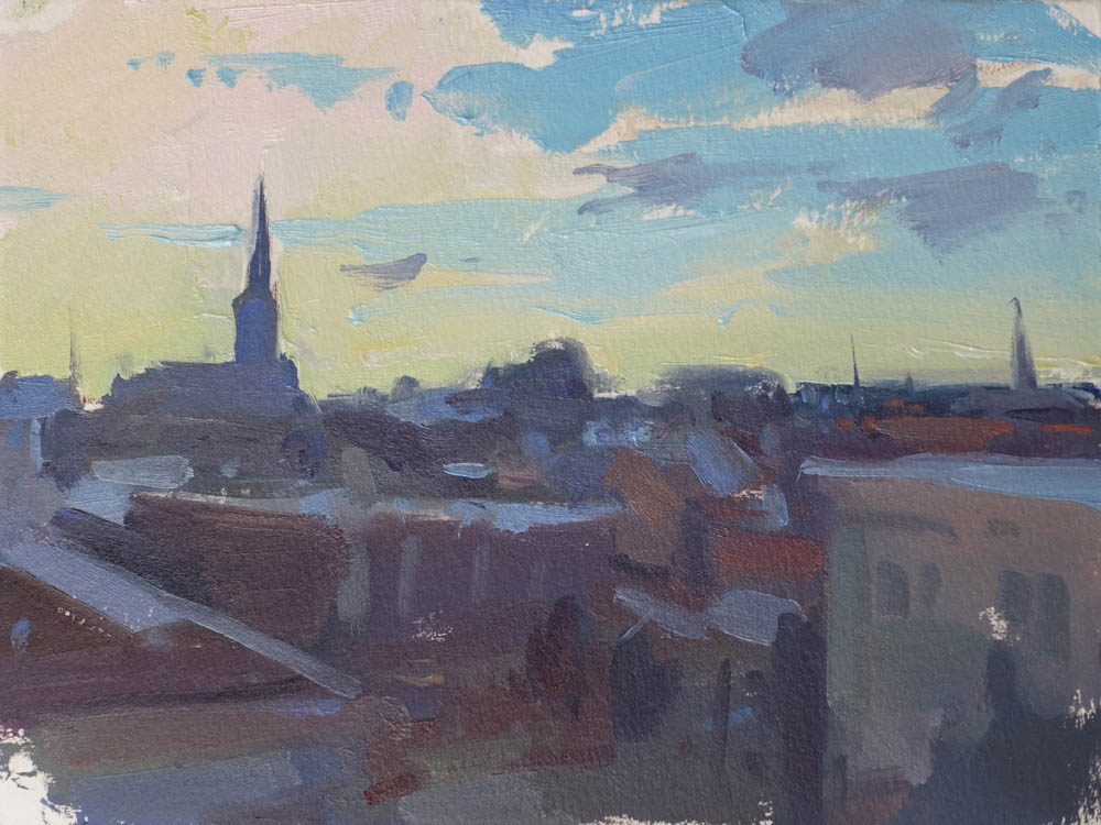 """Twilight Rooftops  6x8"""" oil on paper SOLD (unframed)"""