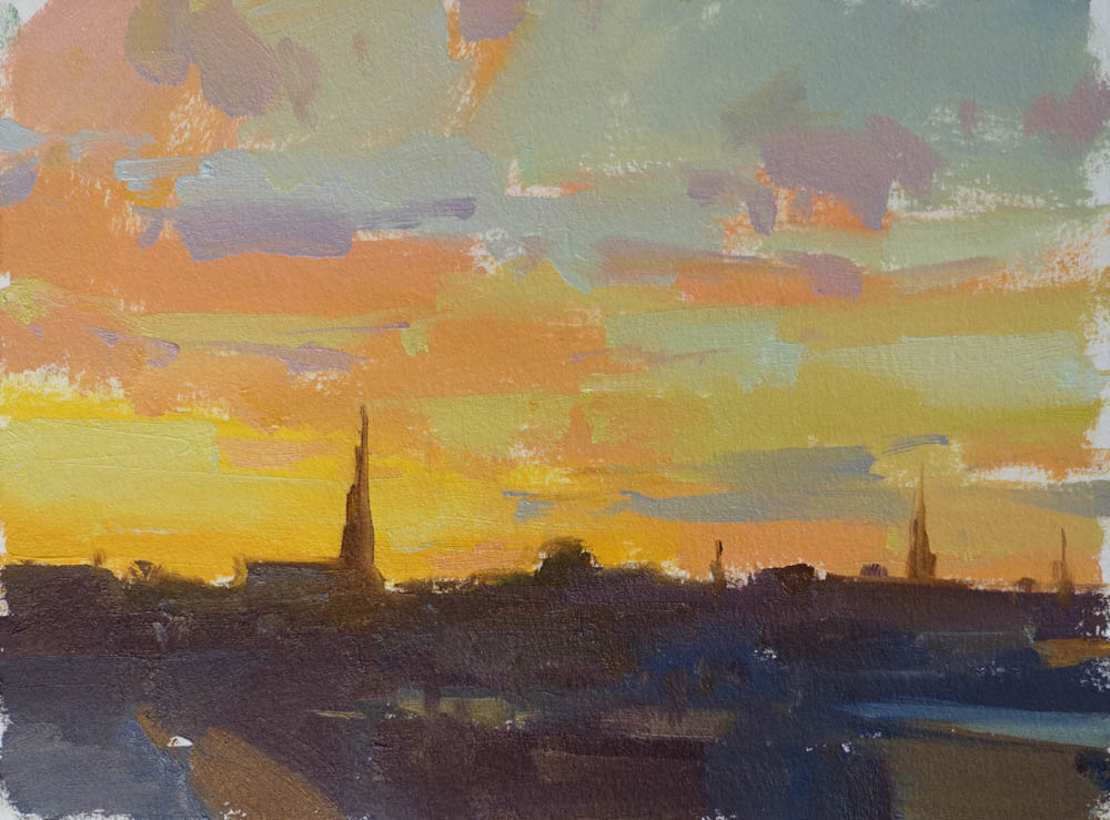 "Rooftop Sunset   6x8"" oil on paper $300 (unframed)"