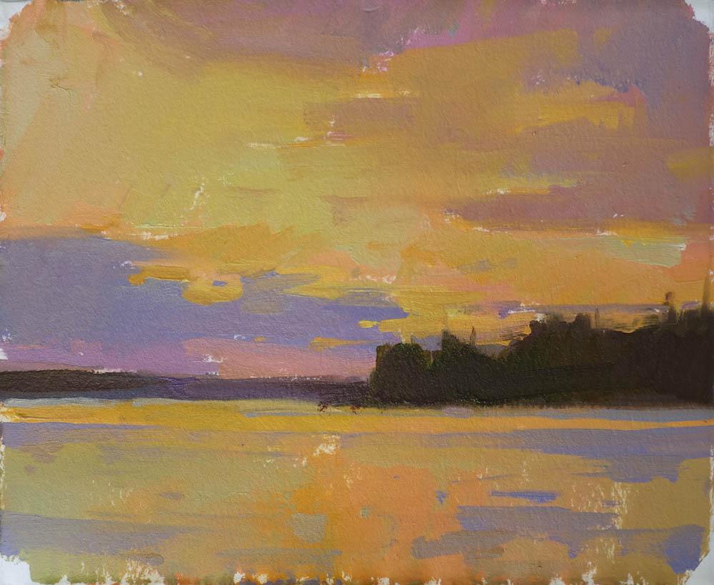 "Calderwood Sunrise  6x8"" oil on paper $300"