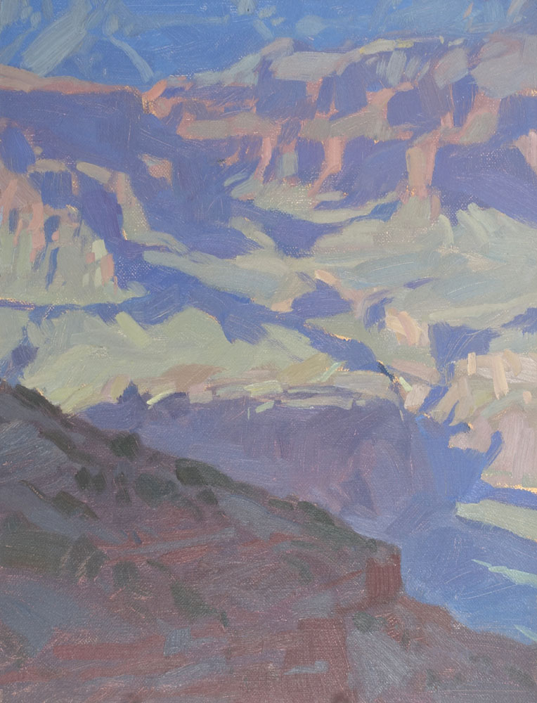 "Canyon Shadows  South Rim of the Grand Canyon  Not for sale  12x9"" oil on panel."