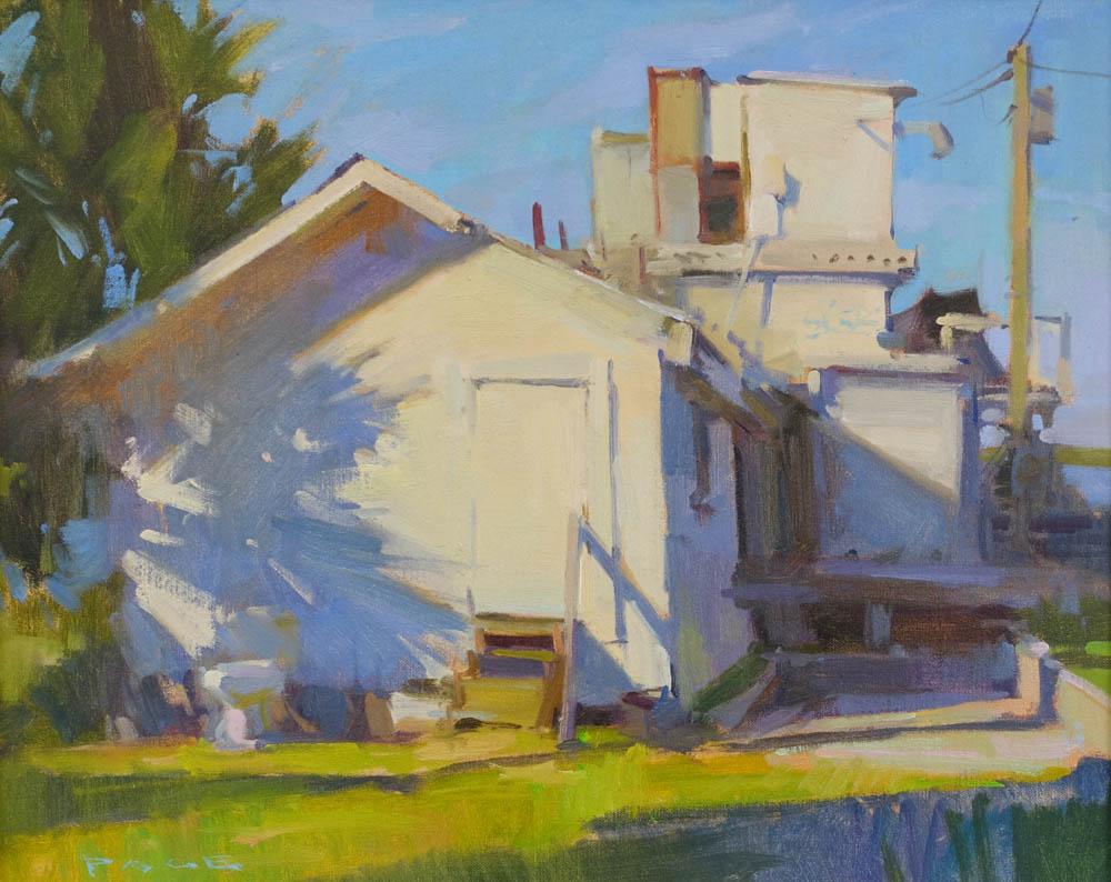 "Long Shadows  Apalachicola, FL  Available through the artist's studio  16x20"" oil on panel $2000"